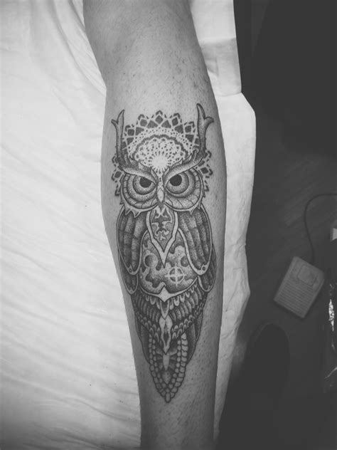 Ornamental space owl design and tattoo done by me