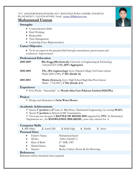 resume format for mechanical engineering freshers it resume best cv format for freshers