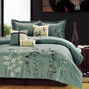 Bliss, Garden, Sage, Comforter, Bed, In, A, Bag, Set, 8, Piece