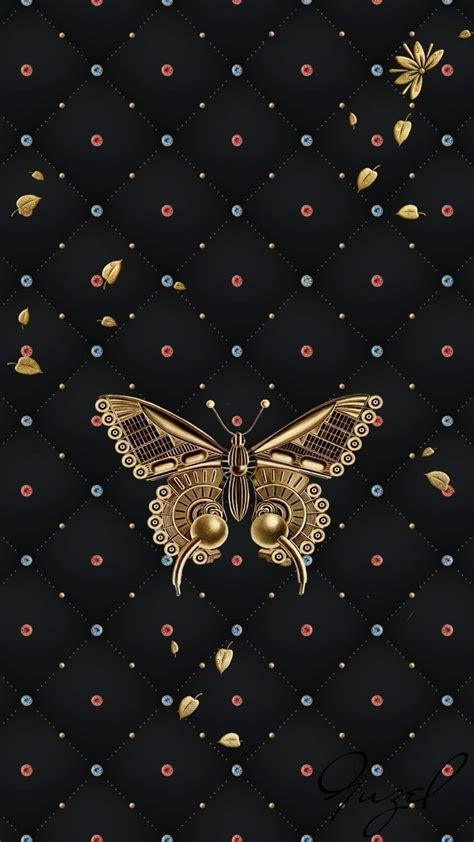 gold butterfly  black wallpaperby artist unknown