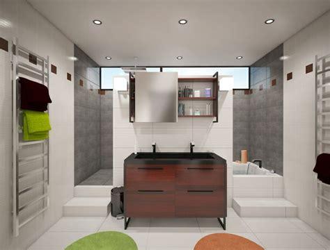 baignoire  douche derriere meuble vasque deco salle