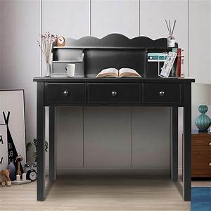 Home, Office, Furniture, Writing, Desk, Computer, Work, Station, With, Detachable, Hutch, 5, Drawers, White