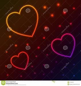 Neon hearts stock vector. Illustration of frame, fashion ...