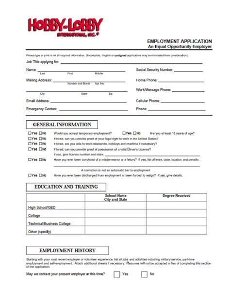 hobby lobby application form