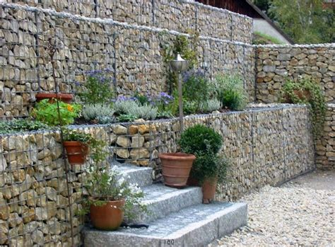 Gabionen  Garten  Pinterest  Gabionen, Gartenebenen Und