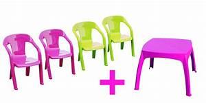 Salon De Jardin Plastique : salon de jardin enfants baghera table rose 4 chaises couleur rose et verte plastique ~ Teatrodelosmanantiales.com Idées de Décoration