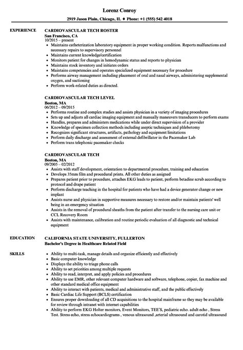 Cath Lab Tech Resume by Cardiovascular Tech Resume Sles Velvet