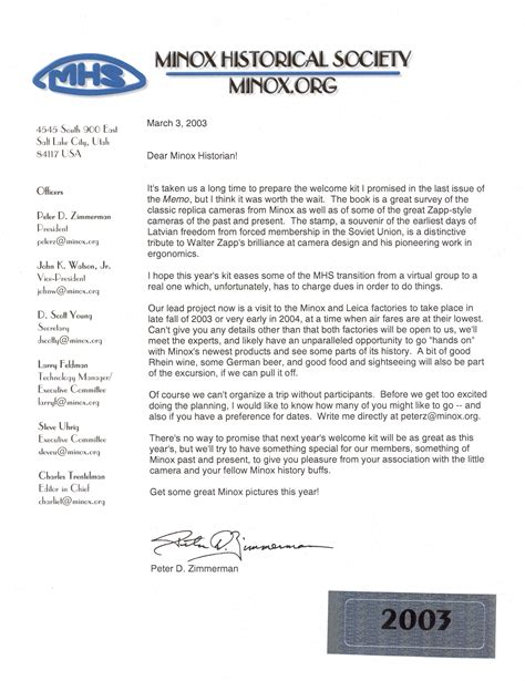 membership new member welcome letter minox memo published by the minox histortical society 73739