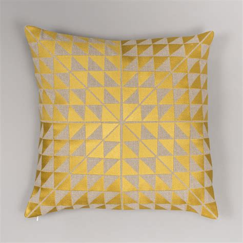 grey and white throw geocentric cushion cover gold and linen niki jones