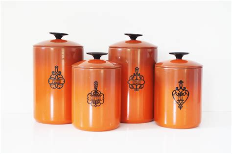 cool kitchen canisters burnt orange bend kitchen canisters by thewhitepepper