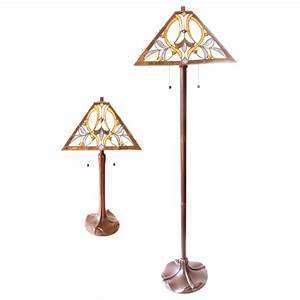 Matching floor and table lamps lighting ceiling fans