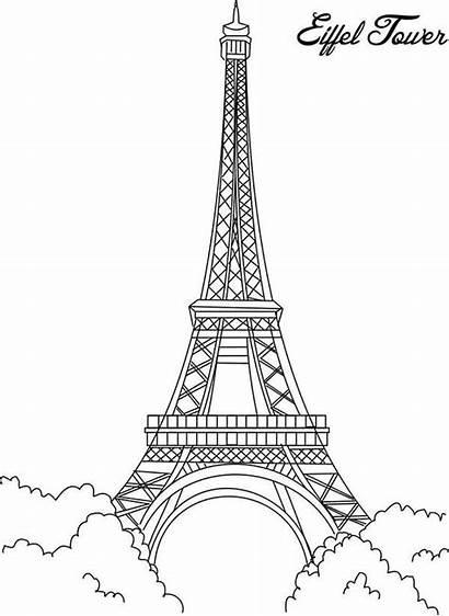 Eiffel Tower Coloring Pages Printable France Paris