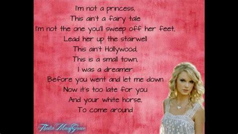 white horse taylor swift lyrics  screen