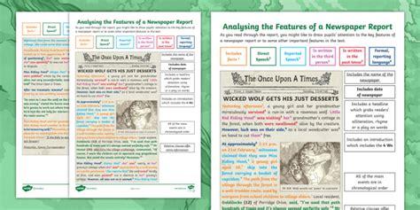 ks analysing  features   newspaper report