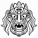 Mask Ancient Coloring Pages Mayan Template Tribal Vector African Templates Sketch Vectors Ceremony Isolated Dreamstime Illustrations sketch template