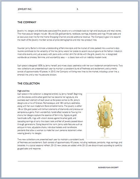 jewelry business plan templates  word examples