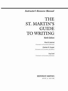 The St  Martin U0026 39 S Guide To Writing Instructor U0026 39 S Manual