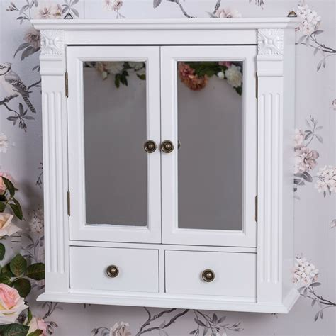 Shabby Chic Wall Cabinets For The Bathroom by White Wooden Mirrored Bathroom Wall Cabinet Shabby Vintage