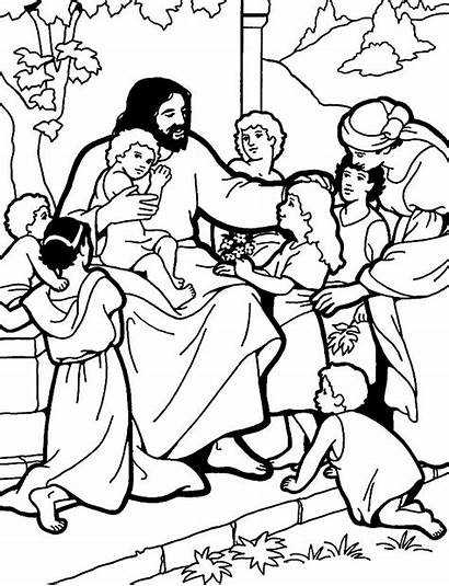 Jesus Coloring Pages Clipart Children Pray Prayer