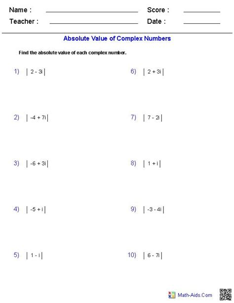 adding and subtracting complex numbers worksheet pdf 11