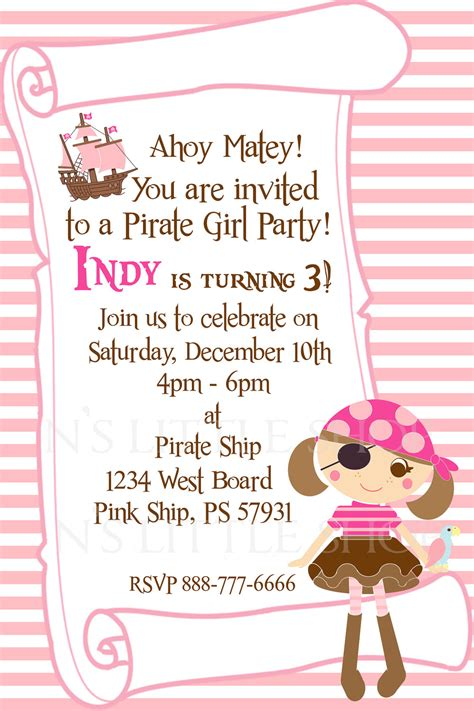pirate girl party invitation card   girl customize