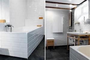 du carrelage blanc dans la salle de bain c39est zen With carrelage adhesif salle de bain avec mobilier led pas cher