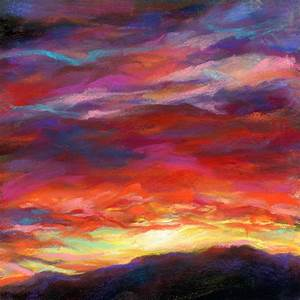 "SUSAN'S ...PLAYING AGAIN!: FIRE + PASSION - 6"" x 6"" sunset ..."
