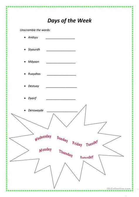 days of the week worksheet free esl printable worksheets