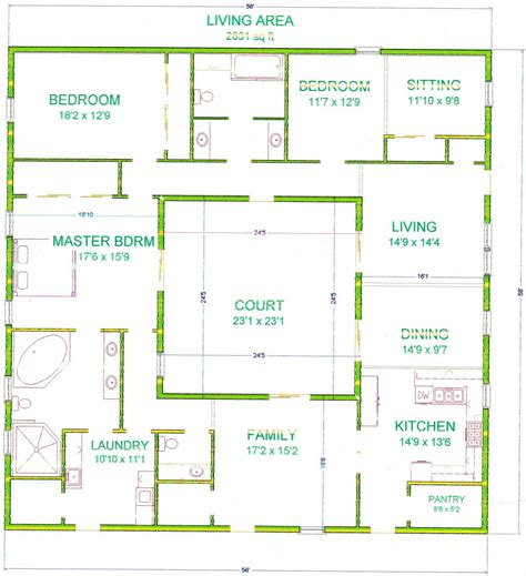 house plan with courtyard center courtyard house plans with 2831 square this