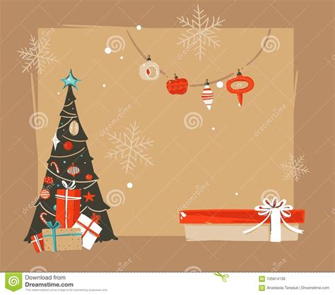 Hand Drawn Vector Abstract Merry Christmas And Happy New