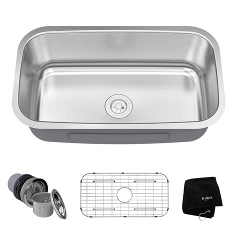 kitchen sink single bowl undermount kraus undermount stainless steel 32 in single basin 8534
