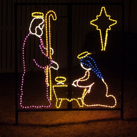 jesus outside christmas lights outdoor decoration nativity manger