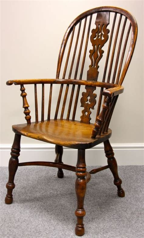 a large high back yew wood chair 153891