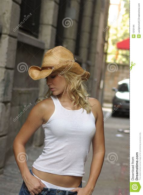 Blond Cowgirl Stock Photo Image Of Street West City