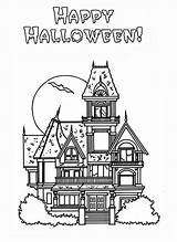 Haunted Coloring Halloween Pages Happy Houses Sheets Colouring Printable Kidsplaycolor Printables Adult Coloringhome sketch template