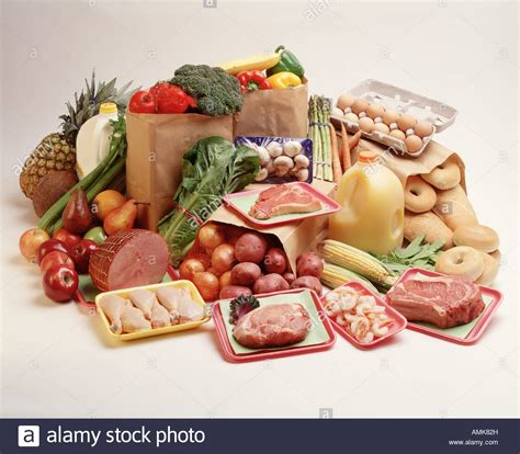 basic food groups fruit vegetable poultry dairy grocery items stock photo royalty free