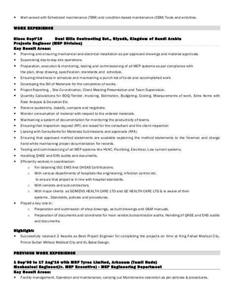 Mep Resume by 1 Arun Das Mep Resume