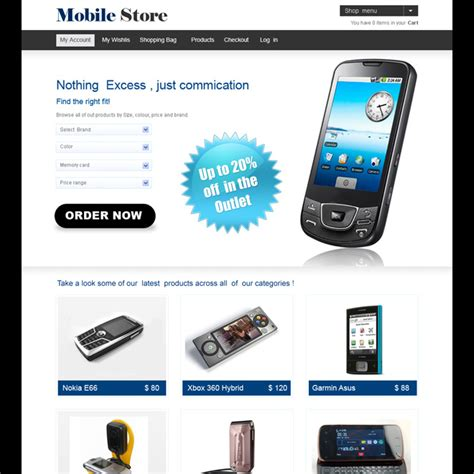 mobili on line mobile store website template design psd for your