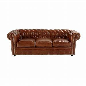 Canape lit 3 places en cuir marron chesterfield maisons for Canapé lit cuir
