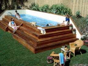 pool wooden above ground pool stairs steps with rattan chairs