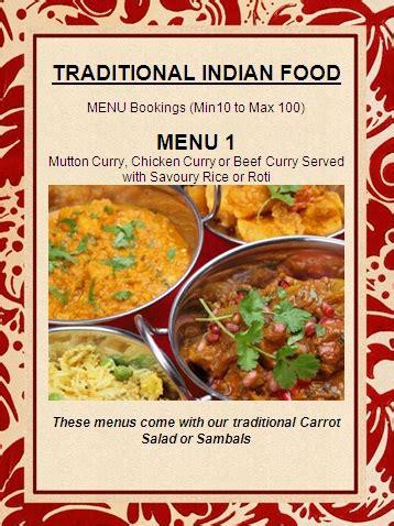 indian cuisine menu traditional indian food menu t n catering