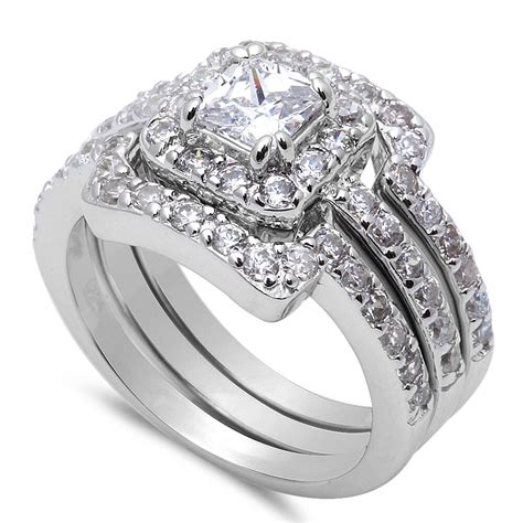 beautiful 3 piece engagement bridal 925 sterling silver ring sizes 3 12 ebay