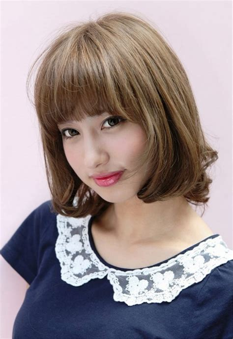lovely short japanese bob hairstyle  bangs
