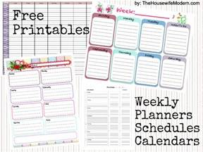 free printable weekly calendars planners schedules the modern