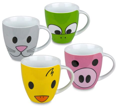 Set of 4 Mugs Zoo (Pig, Duck, Frog & Cat)   Traditional   Mugs   by Waechtersbach