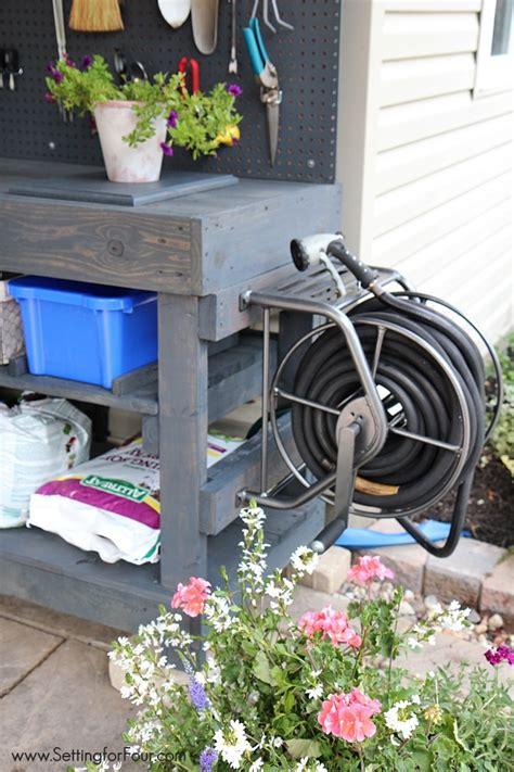 diy pallet potting bench sneak peek setting