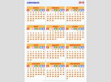 CALENDÁRIO 2018 COM FERIADOS