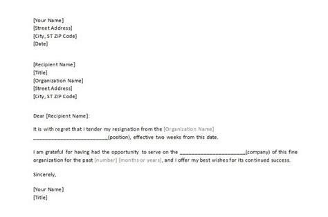 resignation letter sample  week notice templates