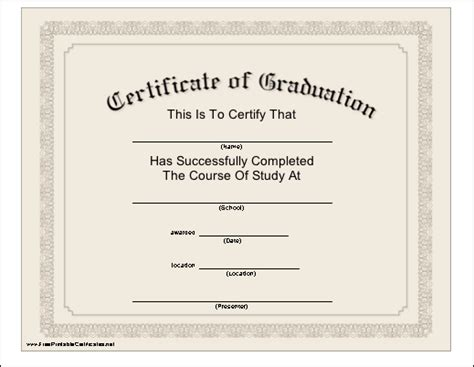 Graduation Gift Certificate Template Free by Free New Doc Graduation Certificate Template Printable