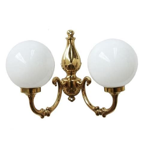 double victorian style wall light in gold brass with opal